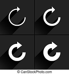 White arrow icon reset, repeat, refresh sign
