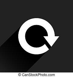 White arrow icon reset sign on black background