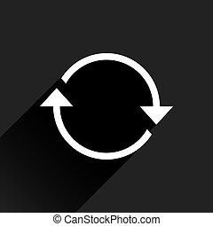 White arrow icon rotation sign on black background