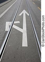 White Arrow Junction Sign on Street, Geneva, Switzerland