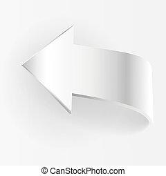 White arrow points backward and grey background