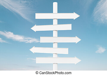 White arrow signs on blue sky background