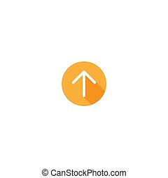 white arrow up with shadow in orange circle icon.