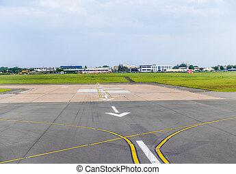 arrows at airport runway landing zone