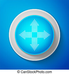 White Arrows dots in four directions icon isolated on blue background. Circle blue button with white line. Vector Illustration