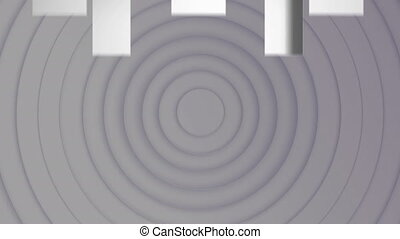 Animation of multiple white arrows pointing up over grey circles pulsating in seamless loop in the background. Colour and movement concept digitally generated image.