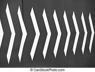White arrows