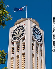White art deco clock tower in the town of hastings New...
