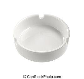 White ashtray is empty