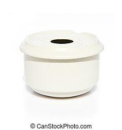 White ashtray over isolated background