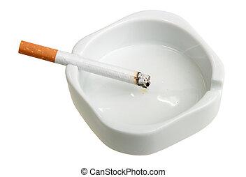 White ashtray with cigarette.