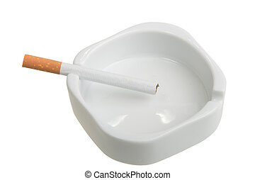 White ashtray with cigarette