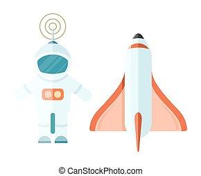 white., astronaute, isolé, fusée, espace