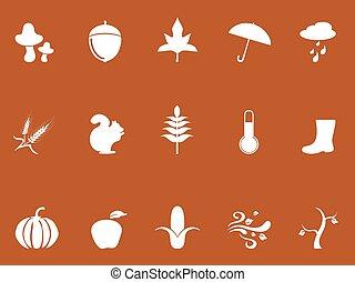 white autumn icons on brown background