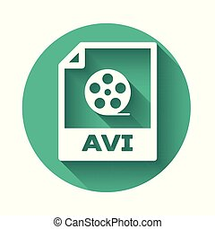 White AVI file document icon. Download avi button icon isolated with long shadow. AVI file symbol. Green circle button. Vector Illustration