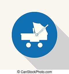 White baby stroller, carriage icon in blue circle.