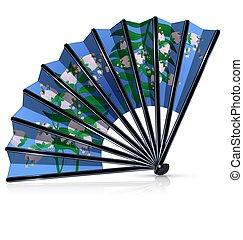 blue fan with pink flowers