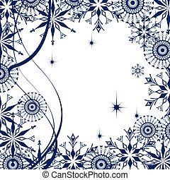 White background with snowflake and frosty patterns
