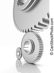 White background consisting of bright gears and arrows. The conce