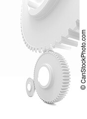 White background consisting of bright gears and arrows