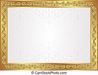 white background with golden frame
