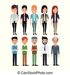 white background full body set collection women and men characters for business