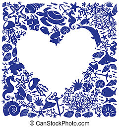 White background heart is surrounded of fishes, dolphins,...