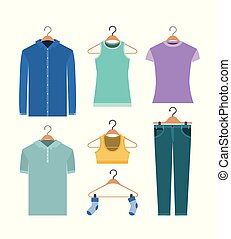 white background of colorful set elements clothes in hangers