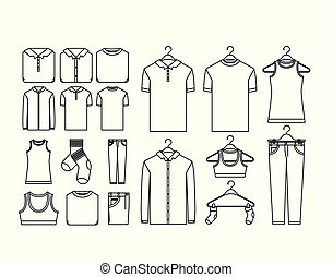 white background of contour set elements of clothes in hangers