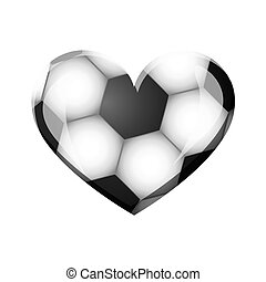 white background of heart with texture of soccer ball