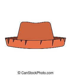 white background of straw hat with thick contour