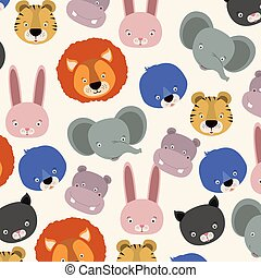 white background pattern with set color face cute animals