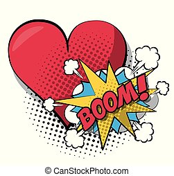white background pop art style of cloud explosive callout for dialogue with boom text and closeup heart in halftone