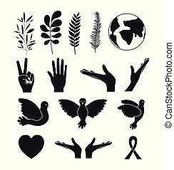 white background silhouette set of elements icons of peace symbol