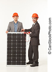white background solar battery builder