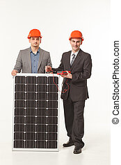 white background solar battery builder men