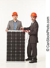white background solar battery builder