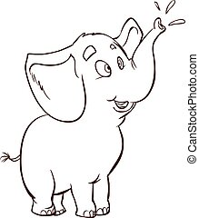 white background vector illustration of a Baby elephant