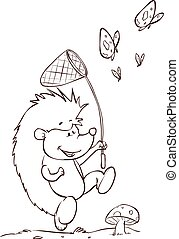 white background vector illustration of a read books hedgehog