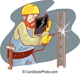 white background vector illustration of a yellow helmets welder