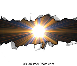 White background with a crack and a bright star (flare). Design template