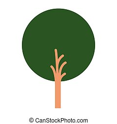 white background with abstract tree with foliage in round shape