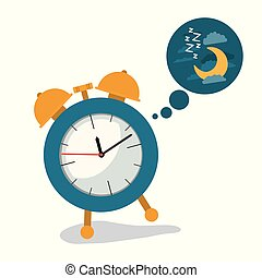 white background with alarm clock and cloud callout dream of night with cloud and moon