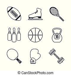 white background with black silhouettes of sports elements