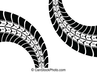 white background with black tire track