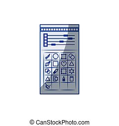 white background with blue shading silhouette of color palette and tool box for designer graphic