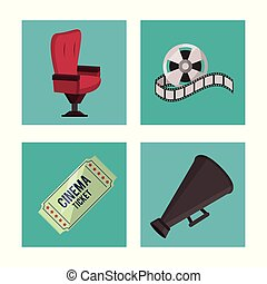 white background with cinema elements in frames as chair ticket reel and megaphone