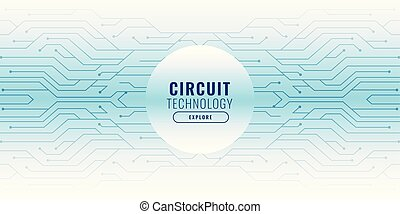 white background with circuit lines technology banner