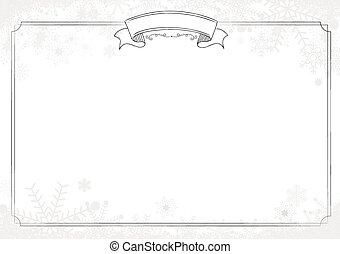 White background with classic border, winter snowflake and snow