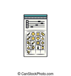 white background with color sections silhouette of color palette and tool box for designer graphic
